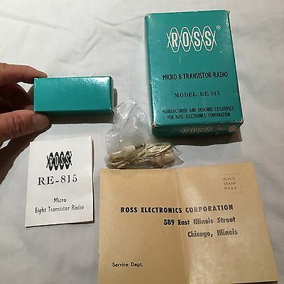 VINTAGE Empty Box FOR ROSS MINI MICRO 8 Transistor RADIO 1960S+ Earphone