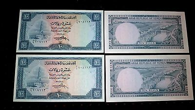 YEMEN  RARE  PAIR   P-8a  (1969) _ 2 x 10 Rials  consecutive numbers  UNC /NEUFS