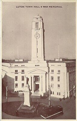 Rare Old Postcard - Town Hall & War Memorial - Luton - Bedfordshire C.1945