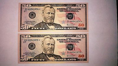 USA CHICAGO 2004  PAIR  $50 STAR  REPLACEMENT - 2 x  $50 Consecutive - UNC
