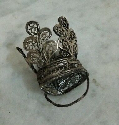 Old Crown Silver Filigrana Colonial Low In Perfect Condition