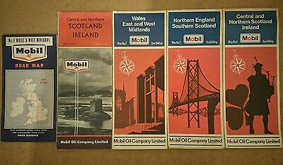 Job Lot of Old Mobil Petrol UK Maps