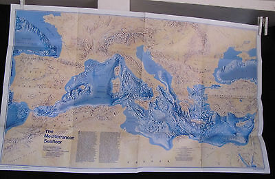 1982 National Geographic Map - The Mediterranean - Historic - 23 x 37 inches