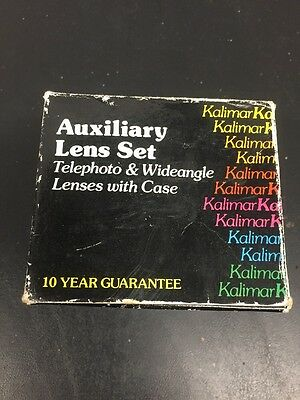 Kalimar Auxiliary Lens Set Telephoto and Wide angle Lenses w/ Case- NIB