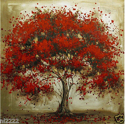 """Hand-painted Modern Abstract Oil Painting On Canvas """"Red Tree"""" Wall Decor"""