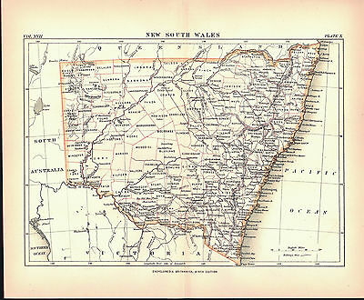 New South Wales Australia Antique Map 1884