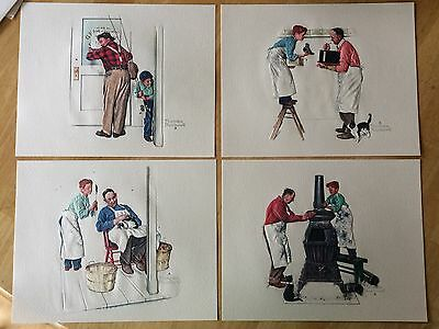 """4 Vintage Norman Rockwell Embossed Prints """"A Helping Hand"""" Series 245-132 Folder"""