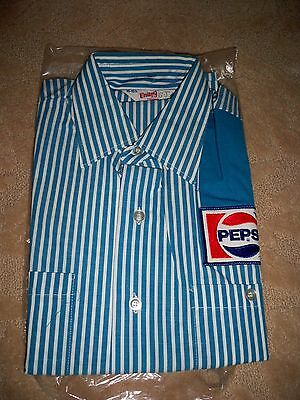 Vintage Pepsi delivery driver shirt Short Sleeve Blue white Stripped 15-15 1/2