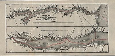 Steamboat Route Richelieu & Ontario Navigation Co 1890 Antique Map