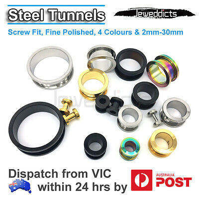 Steel Plug Stretcher Tunnels Screw Ear Piercing Black/Silver/Gold/Rainbow 2-30mm