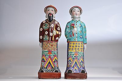 "Vintage Chinese Porcelain Asian Pair Large Figurines Statue Man Woman 13.5""Tall"