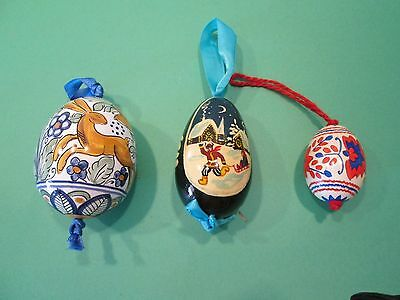 """3- Hand painted WOODEN & PORCELAIN """"EGG""""  Christmas Ornaments"""