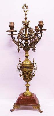 "Vintage Brass and Marble Candelabra Ornate BIG 27 1/2"" weighs over 15 pounds!"
