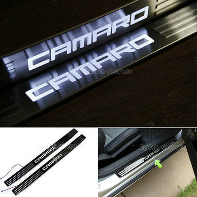 White LED Door Sill Scuff Plate Cover for 2010-2015 GM Chevy Chevrolet Camaro
