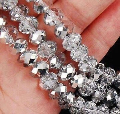 4x6mm 100pcs Gray AB Multicolor Swarovski  Crystal Faceted Rondelle Loose Bead