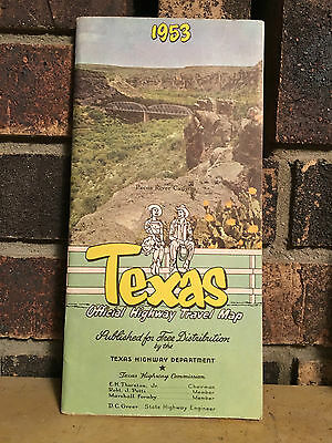 1953 TEXAS Official Highway Travel Map VINTAGE 1953 TEXAS HIGHWAY DEPARTMENT MAP