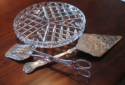 Cake Slice Server/Pastry Tongs/ Crystal Cake Plate