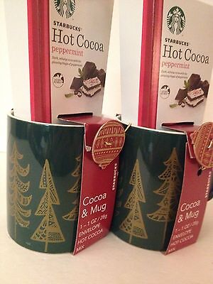 Starbucks 2015 Two 12 oz.Green Trees Coffee Cups Mugs +  Peppermint Cocoa NEW