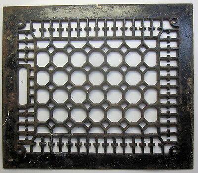 "Antique cast iron floor grille 14""X12"" heat grate register octagon square design"