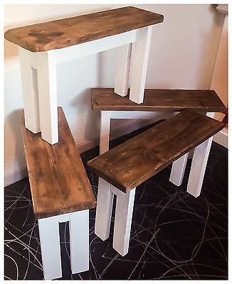 Gorgeous Handcrafted Reclaimed Solid Wood Bench Country Shabby Chic