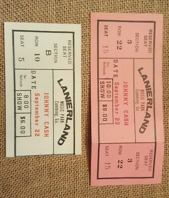 1979 Johnny Cash Ticket Stubs Country Music Lanierland GA