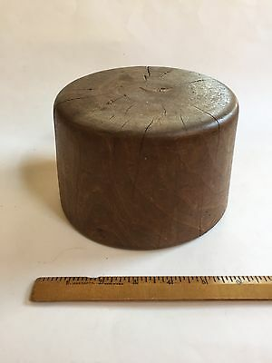 Antique Wooden Hat Form with Chinese Stamp on Base
