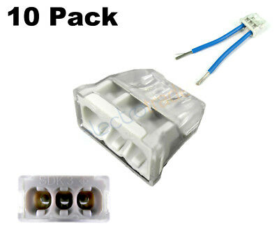 OBO Screwless Push Wire Terminal Connector 3 Port Pack of 10