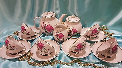"""USSR Coffee-tea set """"Pink flowers"""" 15/6 pieces Russian Porcelain VERY RARE!!"""