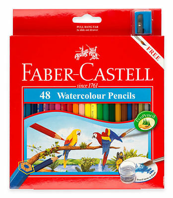 NEW Faber Castell | Xmas | 48 Watercolour Pencils + sharpener & paint brush