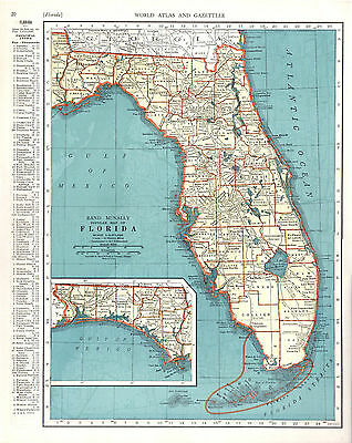 1940 two ORIGINAL MAPS Florida and Connecticut RAND MCNALLY ATLAS