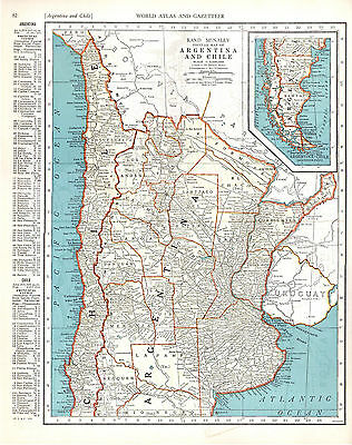 1940 two ORIGINAL MAPS Uruguay Paraguay Argentina Chile RAND MCNALLY ATLAS