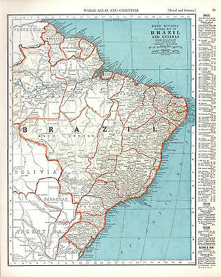 1940 ORIGINAL MAPS Bolivia Brazil British French Inini Guiana RAND MCNALLY ATLAS