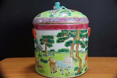 Vintage Chinese Celadon Glaze Porcelain Jar Covered Jar with Horses.
