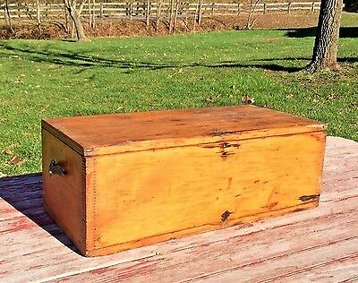 Antique Vintage Old Wood Finger Joint Tool Box Trunk Chest