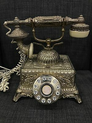 Retro Ornate Brass Rotary Dial Telephone Victorian Leaf Squared Base