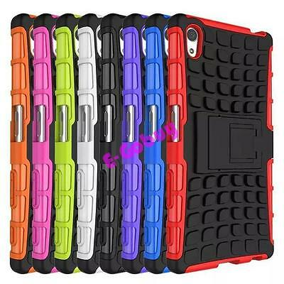 New Gel Rubber Rugged Armor Hybrid Case Shockproof Stand Cover For Sony Xperia