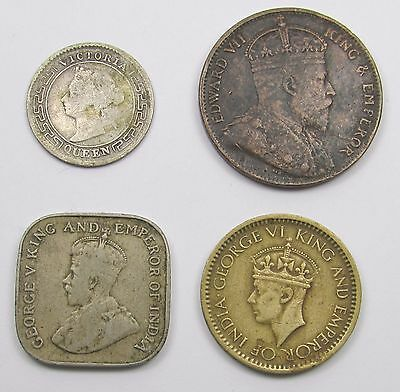 4 CEYLON COINS - 10 CENTS 1894, ONE CENT 1910, 5 CENTS 1912 and 25 cents 1943