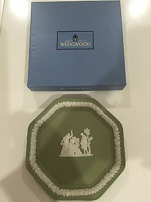 Wedgwood Green Jasperware Miniature Plate In Original Box