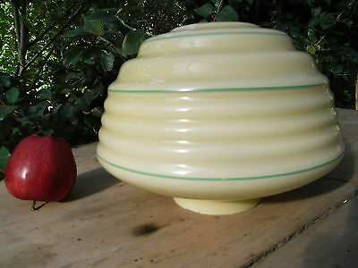 Art Deco Beehive Light Shade with Green Stripes