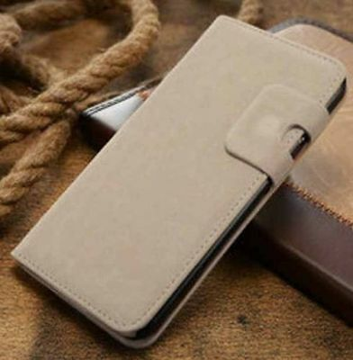 Magnetic Beige Magnetic Flip Wallet Swede Leather Case For iPhone5 5s {nr45