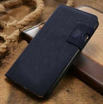 Magnetic Blue Magnetic Flip Wallet Swede Leather Case For iPhone 6 6s {nr49
