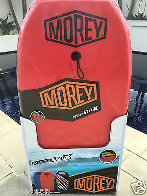 "MOREY BOOGIE BODY BOARD MACH 9TRX PRO 42.5"" with Leash RED TUBE RAIL SURF NEW"