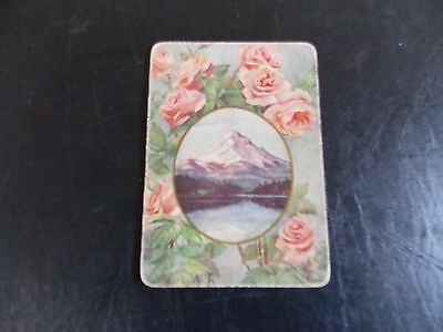 Swap playing cards  1 Wide Vintage Rose Bordered Mountain Scene