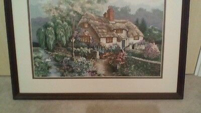 Vintage Completed Tapestry Cross Stitch Picture framed Country Cottage /Garden
