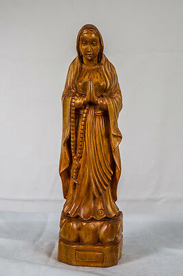 Hand Carved Wood Our Lady of Grace Virgin Mary