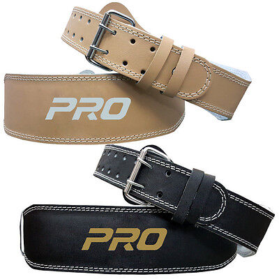 "Weight Lifting 4"" Leather Belt Back Support Strap Gym Power Training Fitness"
