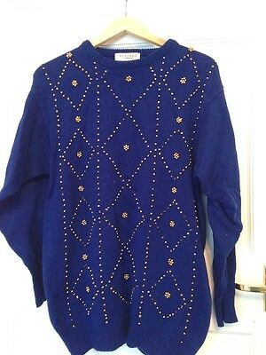 Ladies Blue Gold Beaded Vintage Exclusive Xmas Jumper Size Large 12 Excon