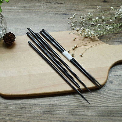 5 Pairs Set Japanese Natural Wood Color Wooden Chopsticks Hair Sticks Gift Black