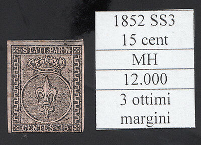 italy asi parma 1852 il 15 cent nuovo MH cat 12000