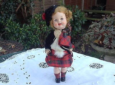 """Delightful 1950's Hard Plastic Roddy Doll- Complete Scottish Outfit-12"""""""